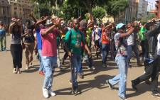 Students from the Tshwane University of Technology demonstrating in Pretoria CBD. Picture: Kgothatso Mogale/EWN.