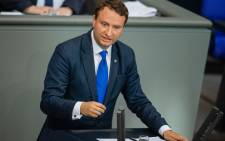 FILE: A photo taken on 27 June 2019 shows German politician and member of parliament Mark Hauptmann of the Christian Democratic Union (CDU) party as he speaks on the subject of start-up policy in the eastern states of Germany during a session of the German lower house of parliament Bundestag in Berlin. Picture: AFP