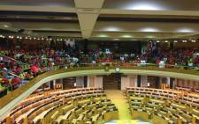 FILE: Parliamentary workers singing in public gallery of National Assembly. Picture: Gaye Davis/EWN.