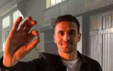 Ajax player Dušan Tadić with one of the star-shaped souvenirs. Picture: Twitter/DT10_Official