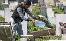 A Yemeni boy waters plants and cleans tombstones in a cemetery in the capital Sanaa on 25 March 2019. Yemen has the highest level of child labour in the Arab world. Picture: AFP