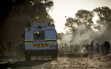 Protesters pelt an Nyala with rocks during a service delivery protest in Sicelo infromal settlement, Meyerton. Picture: Thomas Holder/EWN.