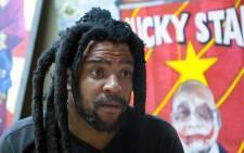 Artist Ayanda Mabulu spoke to EWN defending his graphic painting of President Jacob Zuma. Picture: Reinart Toerien/EWN.