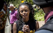 One of the #FeesMustFall leaders Busisiwe Seabe speaks to the media about free tertiary education on 11 October 2016. Picture: Reinart Toerien/EWN.
