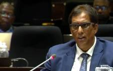 A screengrab shows media mogul Iqbal Survé at the PIC Inquiry on 2 April 2019. Picture: YouTube