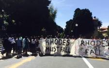 University of Cape Town (UCT) students march through campus grounds, protesting over the statue of Cecil John Rhodes, who they say symbolises racism. Picture: Masa Kekana/EWN
