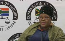 A screengrab of former ANC MP Vytjie Mentor during her last day of testimony at the Commission of Inquiry into State Capture. Picture: YouTube.