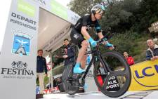 Sky team Kenyan-born British cyclist Chris Froome takes the start of the second stage of the 82th Criterium International cycling race in Porto Vecchio, Corsica, on 23 March 2013. Picture: AFP/PASCAL POCHARD-CASABIANCA