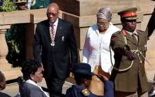 President Jacob Zuma with his wife Sizakele Khumalo at the presidential inauguration at the Union Buildings. Picture: Sebabatso Mosamo/EWN.