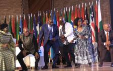 President Jacob Zuma dances with a high-level government dlegation during Africa Day celebrations in Mamelodi, Sunday 24 May 2015. Picture: Vumani Mkhize/EWN.