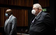 Former Bosasa COO Angelo Agrizzi and former ANC MP Vincent Smith appear in the Palm Ridge Magistrate Court on 14 October 2020. The pair are facing corruption and fraud charges. Picture: Xanderleigh Dookey/Eyewitness News