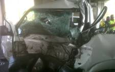 One person died and another was critically injured when a truck collided with a bakkie on the N3 under the Linksfield bridge on December 10, 2012. Picture: Netcare 911.