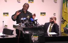 ANC Secretary General, Gwede Mantashe briefs the media on the party's weekend NEC meeting. Picture: Vumani Mkhize/EWN.
