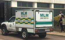 The mortuary van at the Durban Magistrates Court where two people were shot dead and one person critically injured on 26 November 2018. Picture: Ziyanda Ngcobo/EWN