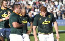 Springbok players react to a defeat in the 2018 Rugby Championship series. Picture: AFP