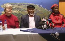 Struggle Veteran, Barbara Hogan, Former President Kgalema Motlanthe and EFF Leader, Julius Malema addressed the media following a tour of Robben Island. Picture: Cindy Archillies/EWN.