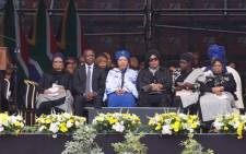 Deputy President David Mabuza is seen on the main stage with family members of the late Winnie Madikizela-Mandela during the memorial service the late struggle stalwart. Picture: Ihsaan Haffejee/EWN.