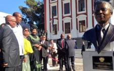 A bronze bust of Nelson Mandela was unveiled outside Parliament on 28 April 2014. Picture: Rahima Essop/EWN.