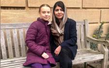 Swedish environmental activist Greta Thunberg and Nobel Peace Prize winner Malala Yousafzai at University of Oxford in Oxford, Britain, on 25 February 2020. Picture: @Malala/Twitter