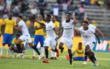 Cape Town City FC players celebrate victory over Mamelodi Sundowns in their MTN8 semifinal match on 2 September 2018. Picture: @CapeTownCityFC/Twitter