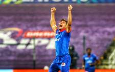 All-rounder Marcus Stoinis celebrates a wicket. Picture: @DelhiCapitals/Twitter