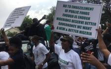 Hundreds of Nigerian nationals living in South Africa on 21 October 2020 took to the streets of Pretoria in protest against the widely criticised Special Anti-Robbery Squad (SARS) back home. Picture: Veronica Makhoali/EWN.
