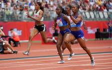 Jamaica's Shelly-Ann Fraser-Pryce (foreground) on her way to victory in the women's 100m event at the IAAF Diamond League meet in London on 21 July 2019. Picture: @Diamond_League/Twitter