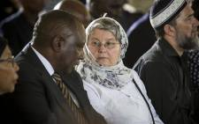 Ahmed Kathrada's widow, Barbara Hogan, speaks to Cyril Ramaphosa during Ahmed Kathrada's funeral at Westpark Cemetery in Johannesburg on 29 March 2017. Picture: Reinart Toerien/EWN
