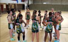 The SPAR Proteas during half-time in their match against Scottish Thistles on 22 October 2021. Picture: @Netball_SA/Twitter.
