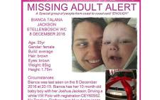Authorities launched a search operation after Bianca Jackson and her son went missing on 8 December 2016. Picture: Facebook.com.