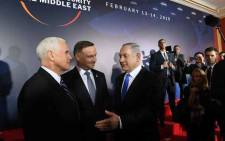 US Vice President Mike Pence, Poland's President Andrzej Duda and Prime Minister of Israel Benjamin Netanyahu are seen during the conference on Peace and Security in the Middle east in Warsaw, on 13 February 2019. Picture: AFP