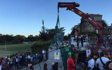 Cecil John Rhodes statue was removed at the University of Cape Town on 9 April 2015. Picture: Aletta Gardner/EWN.