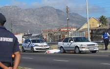 A traffic cop and a civilian died after they were shot in Lavender Hill on 3 April 2013. Picture: Shamiela Fisher/EWN