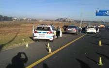 The scene from a shootout in Benoni between Saps and hijackers. 4 suspects died after being shot. Picture: Supplied.