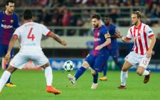 Lionel Messi during a UEFA Champions League game between Olympiacos and FC Barcelona at the Georgios Karaiskakis stadium.