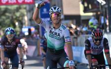 Bora-hansgrohe rider Peter Sagan celebrates his win on the 10th stage of the Giro d'Italia on 17 May 2021. Picture: @giroditalia/Twitter
