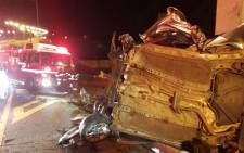 Woman dies after vehicle crashes into road sign. Picture: ER24