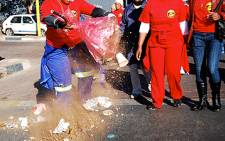 Municipal workers affiliated to Samwu have embarked on a strike over allegations of racism against workers. Picture: EWN