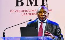 President Matamela Cyril Ramaphosa delivering the keynote address at the 45th Black Management Forum Corporate Update Gala Dinner at the Sandton Convention Centre in Johannesburg on Friday, 4 June 2021. Picture: Twitter/@PresidencyZA