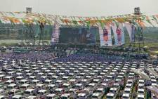 A view of the 600 cars during an outdoor ceremony held in Surat. Picture: @HKDiamonds/Facebook.com.