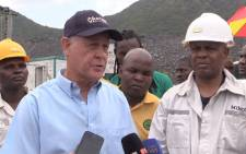 Vantage goldfield CEO Michael McChesney and Amcu president Joseph Mathunjwa briefing the media on rescue operations at the Lily Mine in Barberton Mpumalanga on 12 February, 2016. Picture: Kgothatso Mogale/EWN
