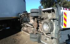 A minibus collided with a truck on the R560 in Skeerpoort on  17 May 2017, injuring 11 children. Picture: iWitness.