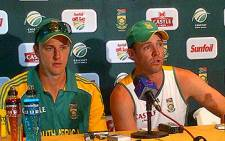 Proteas captain AB de Villiers and bowler Morne Morkels address a press conference in Paarl following their ODI victory over Sri Lanka on 11 January 2012. Picture: Alicia Pillay/EWN
