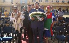 Madikizela-Mandela's former bodyguard Ebrahim Safter had the honour of laying a wreath during the ceremony. Picture: Bertram Malgas/EWN