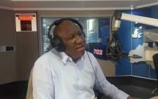 Bheki Cele talks to Eusebius McKaiser in the 702 studio. Picture: Talk Radio 702