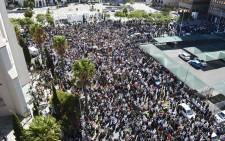 Anti-President Jacob Zuma protesters gathered at the gates of Parliament. Picture: Imran Goga/EWN.