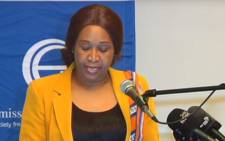 A YouTube screengrab of Gender Commission chairperson Tamara Mathebula briefs the media on the commission's report on forced sterilisations.