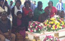 Family members and residents are seen during a funeral for Everlate Chauke. Picture: Kgothatso Mogale/EWN.