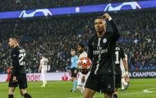 PSG's Kylian Mbappe reacts following his team's Champion League defeat against Manchester United. Picture: @PSG_English/Twitter.