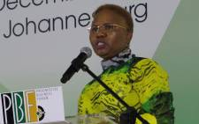 Small Business Development Minister Lindiwe Zulu speaks at the Progressive Business Forum at the Nasrec in Johannesburg on 18 December, 2017. Picture: Louise McAuliffe/EWN